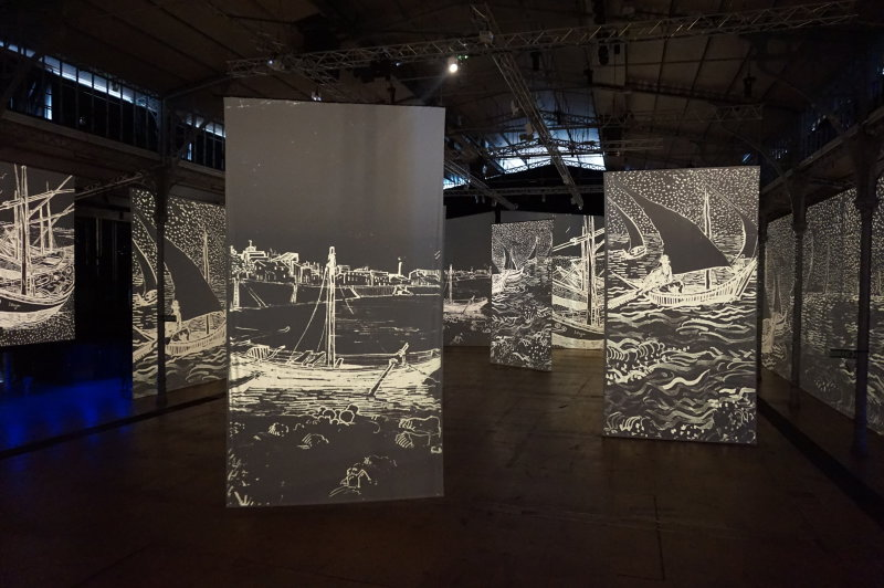 Vue de l'exposition Imagine Van Gogh à La Villette