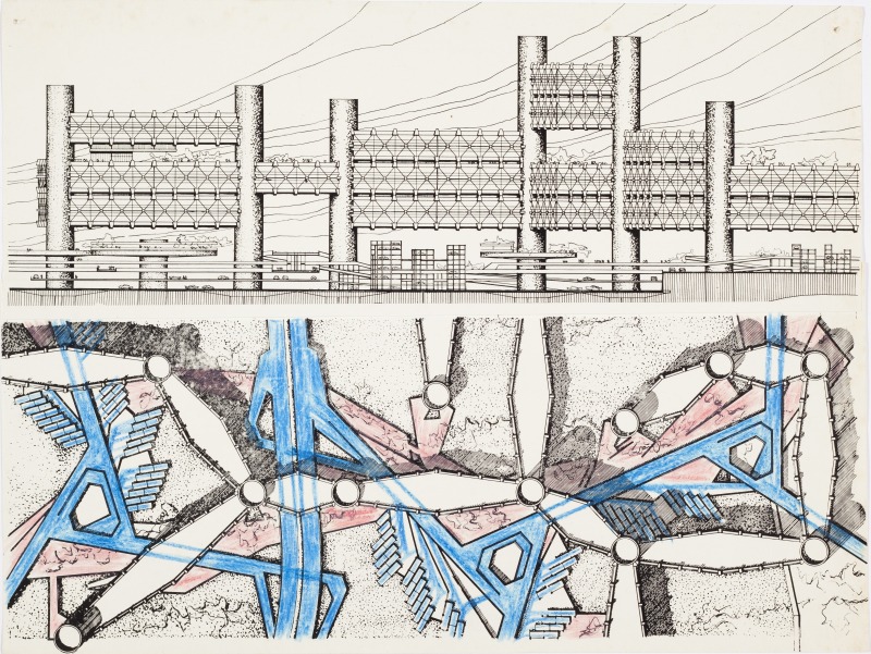 Arata ISOZAKI, Projet City in the air - Elevation and Floor Plan, 1962