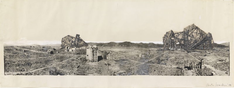 Isozaki, Arata (b. 1931): Re-ruined Hiroshima Project. Hiroshima, Japan. Perspective, 1968 New York Museum of Modern Art (MoMA) *** Permission for usage must be provided in writing from Scala.
