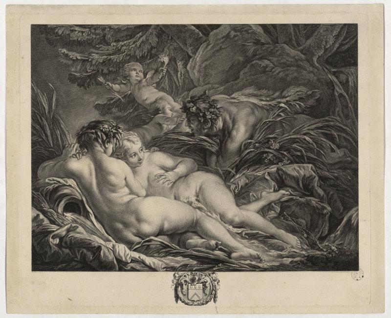 Pan et Syrinx Estampe de P. Martenasie d'après F. Boucher, Expo Beau comme l'Antique - La Garenne Lemot