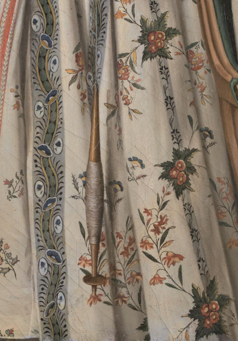 Détail du tablier et de la jupe de Thérèse Raspal, Expo Raspal, Musée Fragonard, Grasse