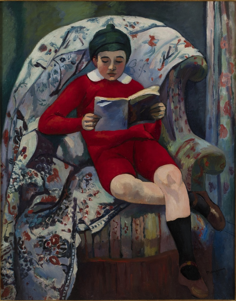 Henri Manguin Claude en rouge lisant, 1909 - La volupté de la couleur au musée des impressionnismes de Giverny