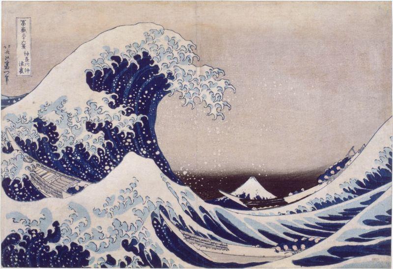 Katsushika Hokusai, Sous la grande vague au large de la cote à Kanagawa, Paysages japonais, Musée Guimet