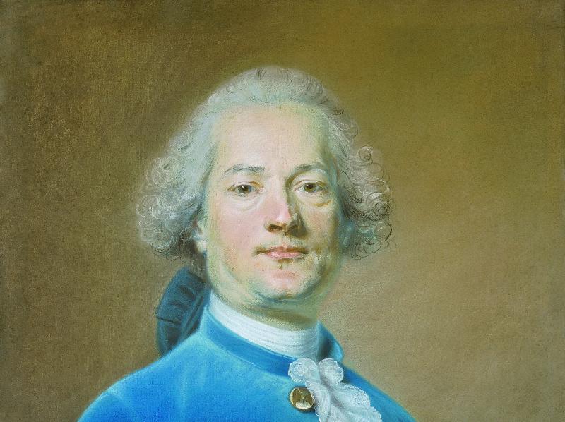 Portrait d'un homme de face en habit et veste de velours bleu roi