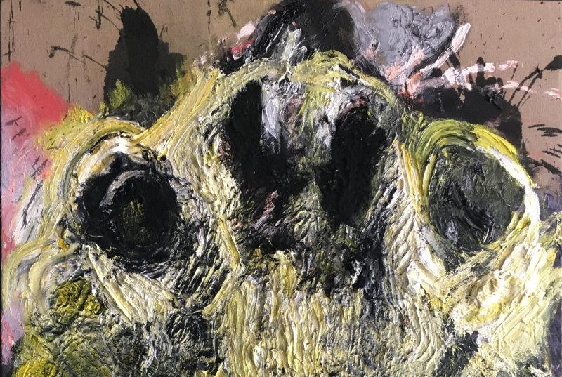 Lydie Arickx, Portrait III, Huile et pigments sur papier marouflé, 99 x 135cm