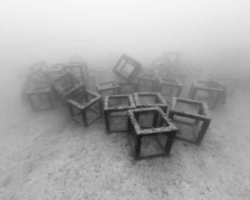 Nicolas Floc'h, Structure productive, récif artificiel Cubes, -27m, Golfe-Juan 2014,  Photographie noir et blanc, hahnemühle matt fibre, 80 x 100 cm, Ed 3.