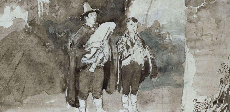 Carl Blechen 1789-1840, Zwei Pifferari der Madonna ein Ständchen bringend