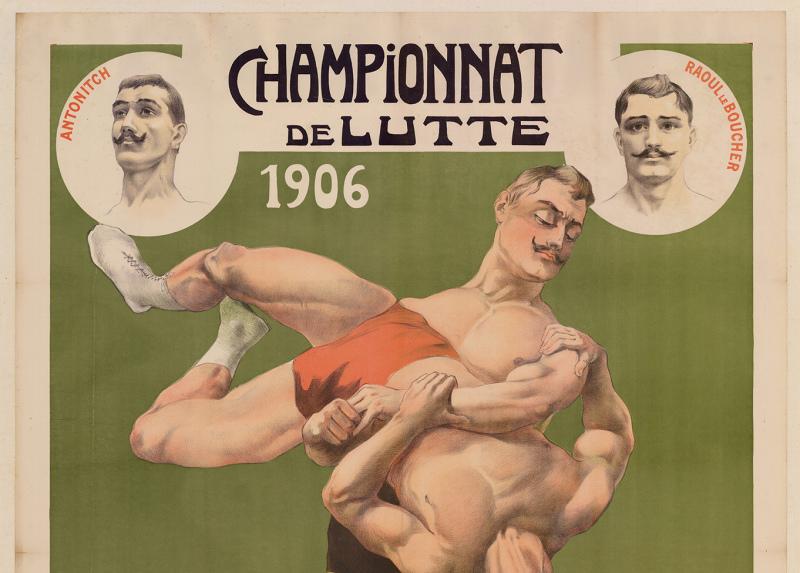 Championnat de lutte, bande dessinée, Sport et cinéma, Fondation Pathé