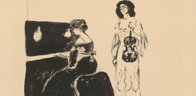 """Edvard Munch, Geigenkonzert"""", 1903, Lithographie (Feder, Kreide)"""
