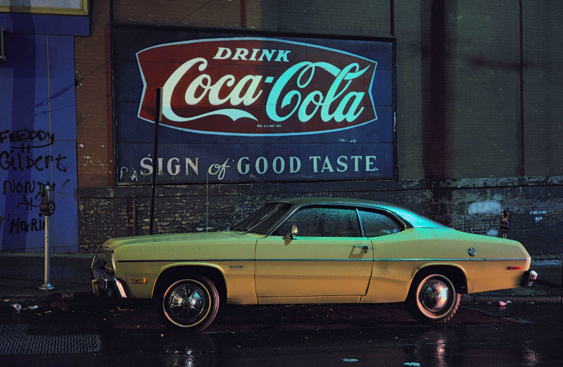 Langdon Clay, Sign of Good Taste car, Plymouth Duster Hoboken NJ 1975