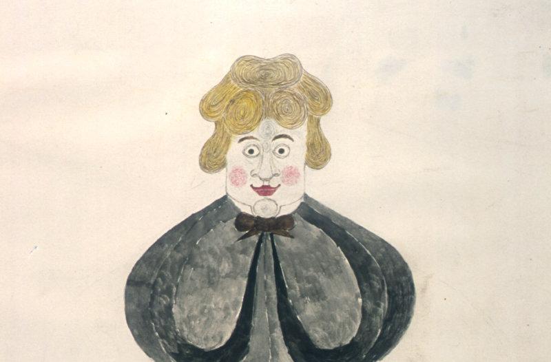 Joseph Askew, stylised figure, crayon et aquarelle s.d