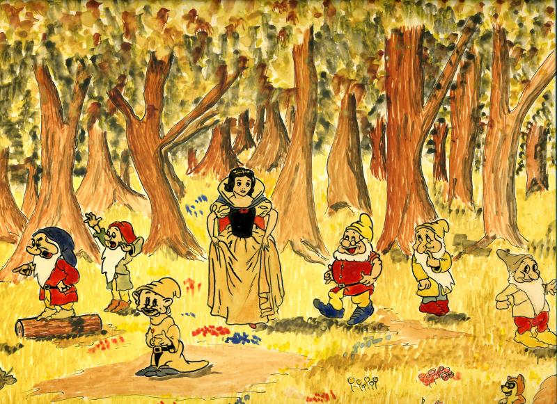 Aquarelle de René Goscinny représentant Blanche Neige et les Sept Nains vers 1942, Le cinéma de Goscinny, Cinémathèque Française