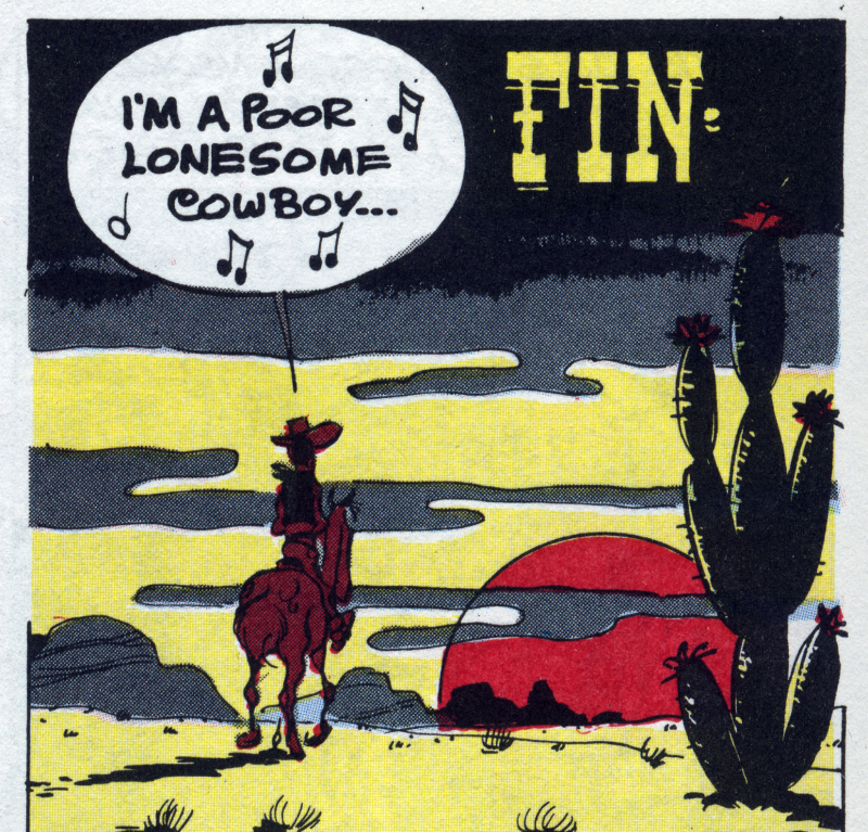 Une case de fin d'un album «I'm a poor lonesome cowboy», Le cinéma de Goscinny, Cinémathèque Française