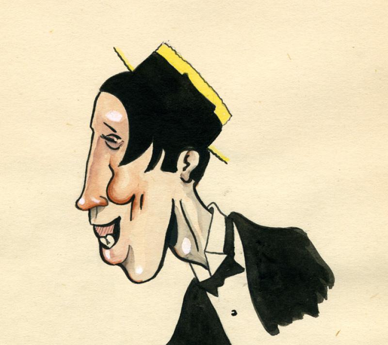 Fernandel. Ces caricatures ont été dessinées par René Goscinny entre 1950 et 1954 pour l'hebdomadaire belge Le Moustique, Le cinéma de Goscinny, Cinémathèque Française