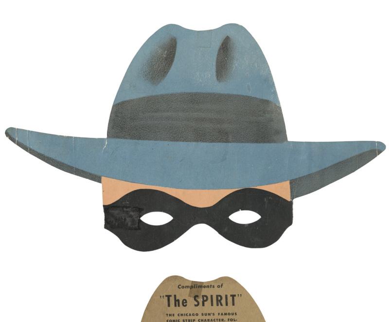 Masque promotionnel du spirit, distribué par le Chicago sun, années 40