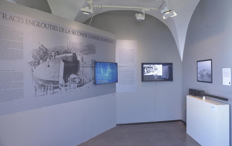Vue de l'exposition Secrets d'épaves au musée de Bastia