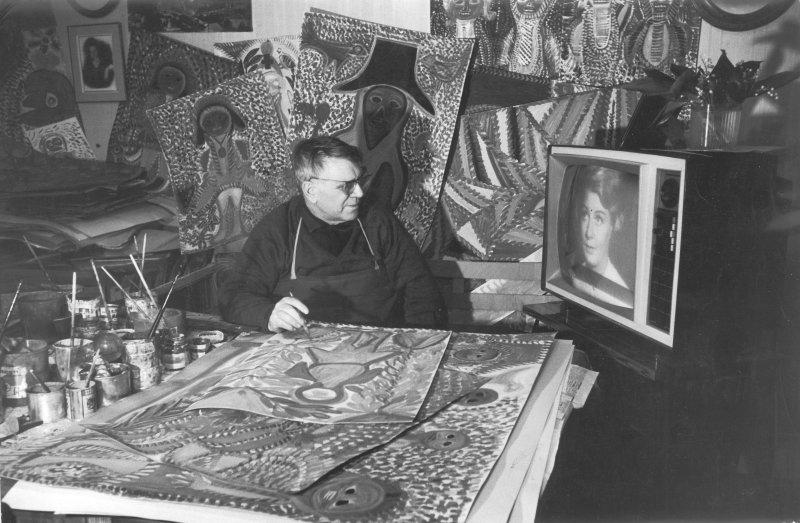 Portrait d'Anselme Boix-Vives dans son atelier, photographie,