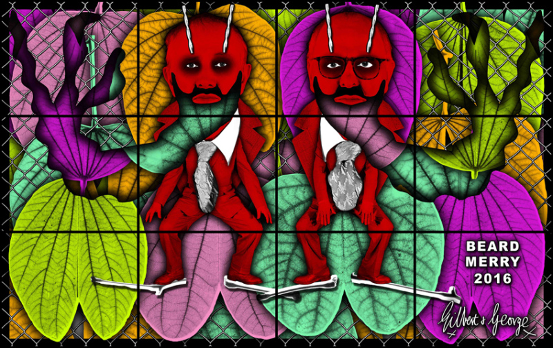 Gilbert & George, Merry, 2016, Beard pictures, Galerie Thaddaeus Ropac