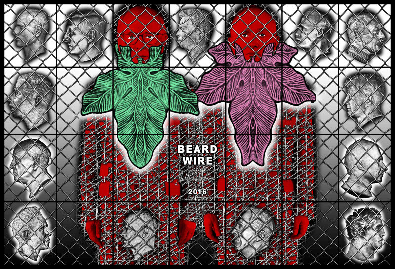 Gilbert & George, Bear Wire, 2016, Beard pictures, Galerie Thaddaeus Ropac