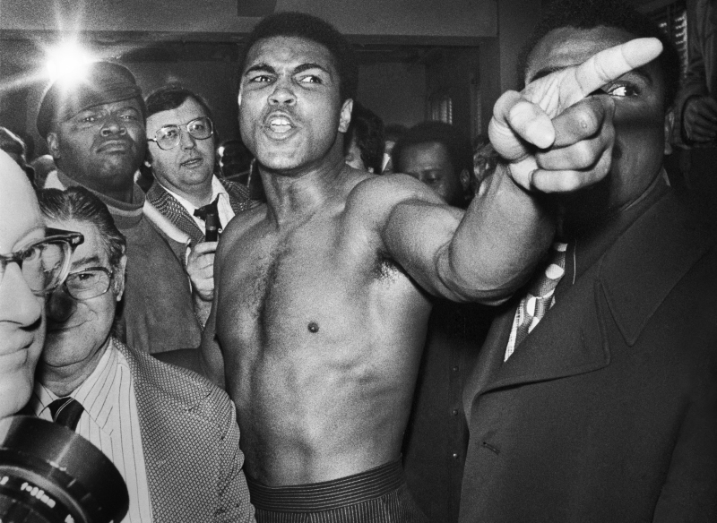Manhattan, New York CIty, NY. January 23rd, 1974.Muhammad Ali pointing his finger during the weigh-in process, before the second boxing match between him and Joe Frazier.  Ali won the fight by unanimous decision, regaining the title.