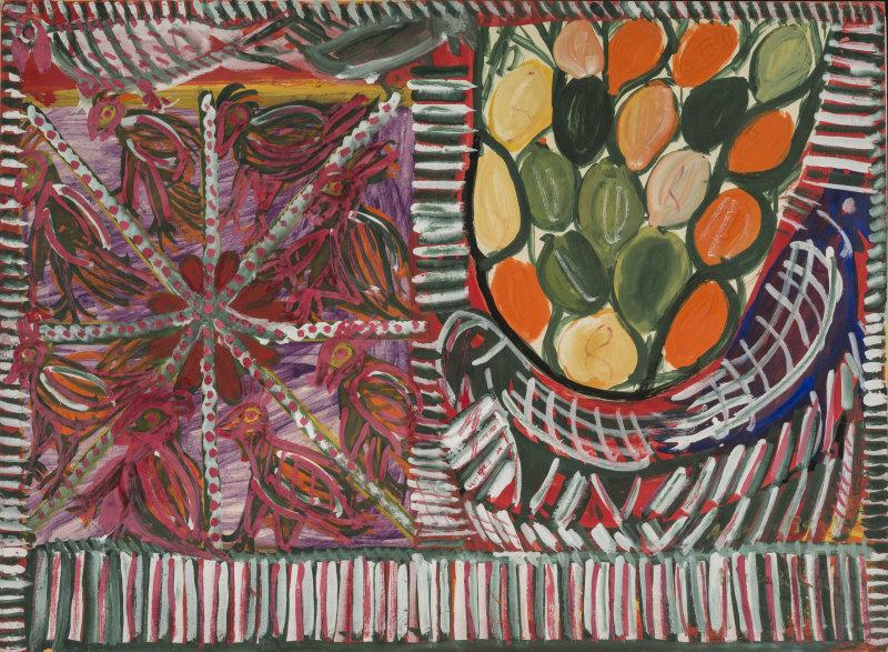 Anselme Boix-Vives, Les fruits et les oiseaux, 1963, gouache sur carton