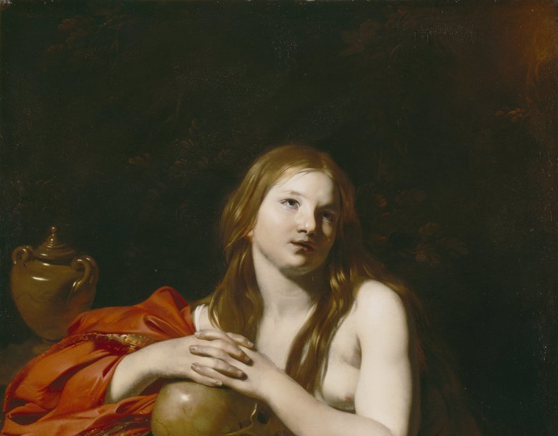 DTR373190 The Repentant Magdalene, c.1625 (oil on canvas) by Regnier, Nicolas (1590-1667); 122.2x96 cm; Detroit Institute of Arts, USA; (add.info.: Madeleine Repentente; Marie Madeleine;); Gift of Mrs. Trent McMath; PERMISSION REQUIRED FOR NON EDITORIAL USAGE; French,  out of copyright  PLEASE NOTE: Bridgeman Images works with the owner of this image to clear permission. If you wish to reproduce this image, please inform us so we can clear permission for you.