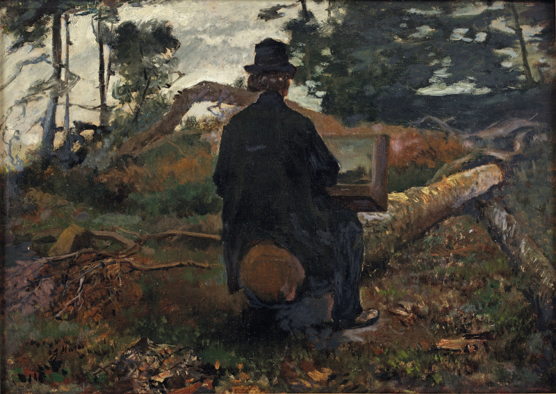 The painter Frederik Hendrik Kaemmerer at work in Oosterbeek  *oil on paper on panel *30 x 42 cm *signed b.l.: J Maris  *circa 1861-1862