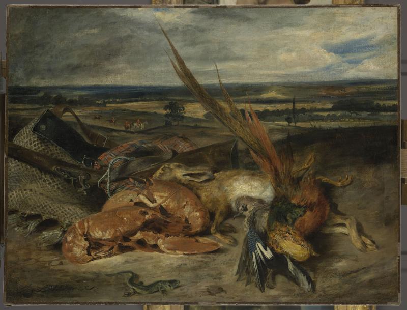 Eugène Delacroix, Nature morte au homard, Salon de 1827.