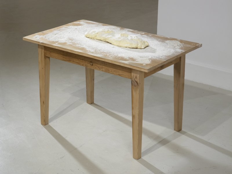 Subodh Gupta, Atta, 2010 Painted bronze, flour, table