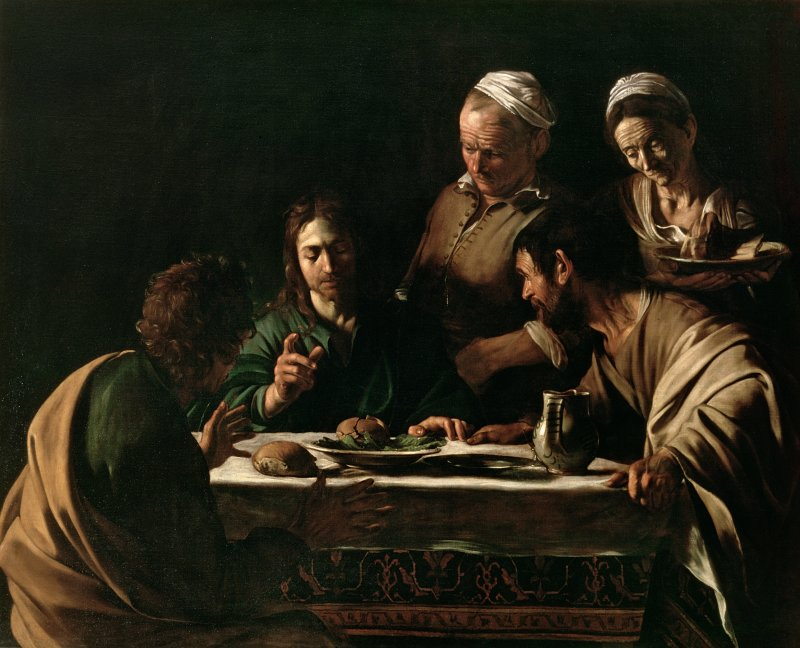 XJL60976 Supper at Emmaus, 1606 (oil on canvas) by Caravaggio, Michelangelo Merisi da (1571-1610); 141x175 cm; Pinacoteca di Brera, Milan, Italy; Italian,  out of copyright