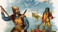 Robinson Crusoe et Vendredi sur un radeau: illustration du roman de Daniel de Foe ou Defoe (1660-1731), 1890 environ