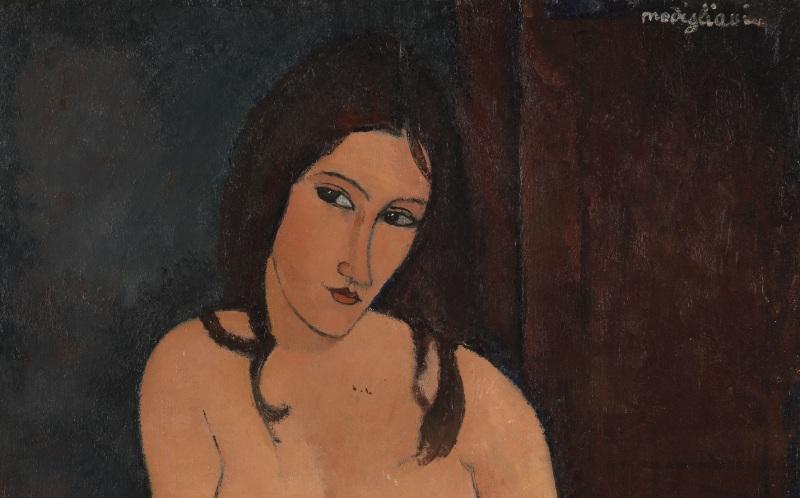 LAF471069 Seated Nude, 1917 (oil on canvas) by Modigliani, Amedeo (1884-1920); 114x74 cm; Koninklijk Museum voor Schone Kunsten, Antwerp, Belgium; © Lukas - Art in Flanders VZW Photo: Hugo Maertens; Italian,  out of copyright