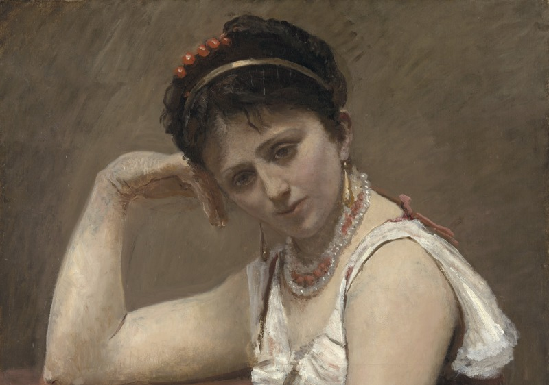 INC2968517 Interrupted Reading, c.1870 (oil on canvas mounted on board) by Corot, Jean Baptiste Camille (1796-1875); 92.5x65.1 cm; The Art Institute of Chicago, IL, USA; Potter Palmer Collection; APPROVAL REQUIRED FOR MERCHANDISE LICENSING; French,  out of copyright  PLEASE NOTE: Bridgeman Images works with the owner of this image to clear permission. If you wish to reproduce this image, please inform us so we can clear permission for you.