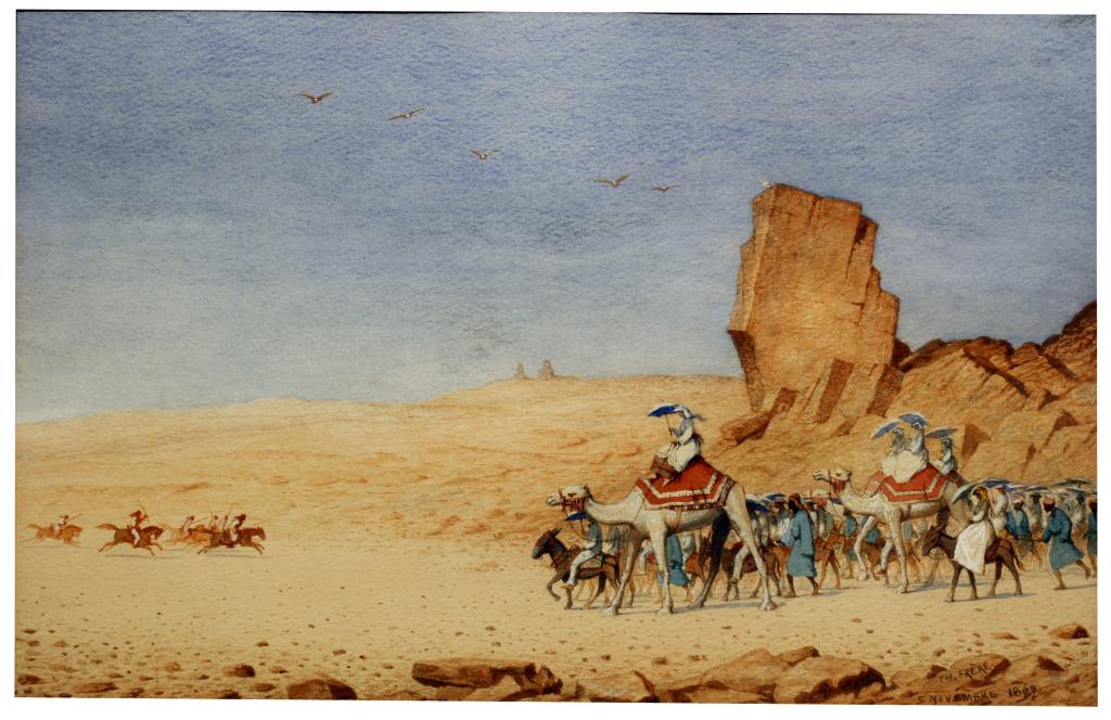 Théodore Frère, Promenade de l'Impératrice Eugénie en chameau dans le désert, 1869