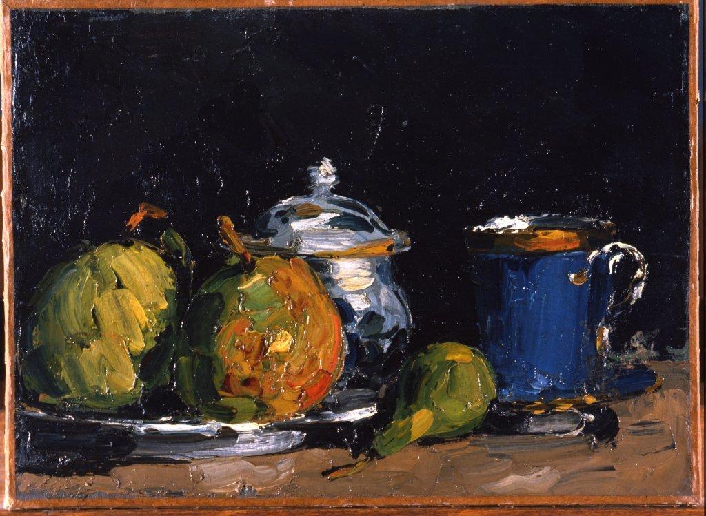 Paul Cézanne, Nature morte, sucrier, poire et tasse bleue, vers 1865