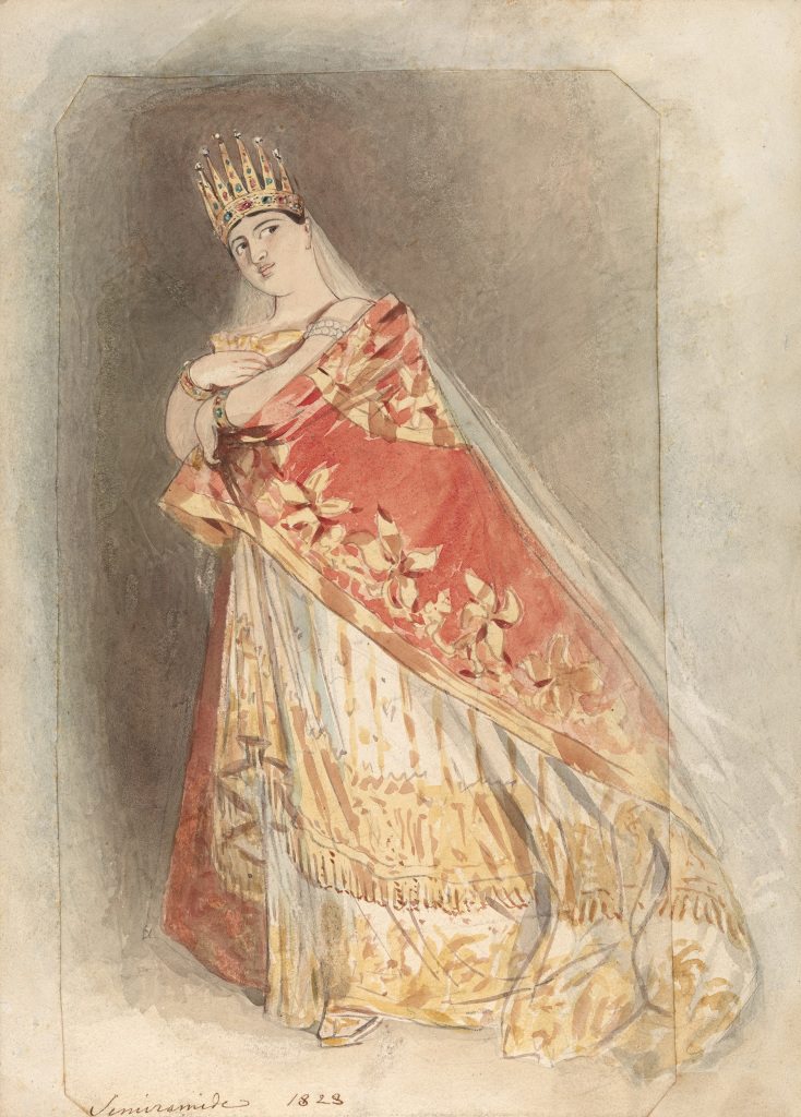 Alfred Edward Chalon (1780-1860), Giuditta Pasta en Semiramide, 1828