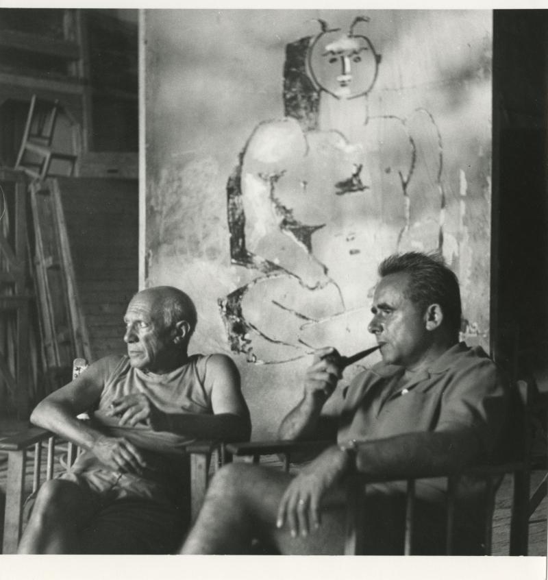 André Villers, photographie de Pablo Picassoet Henri-Georges Clouzot, tournage du Mystère Picasso, 1955