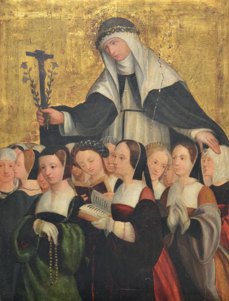 Anonyme bourguignon, Sainte Catherine de Sienne protégrant un groupe de femmes du Tiers-Ordre de saint Dominique, vers 1520-1530