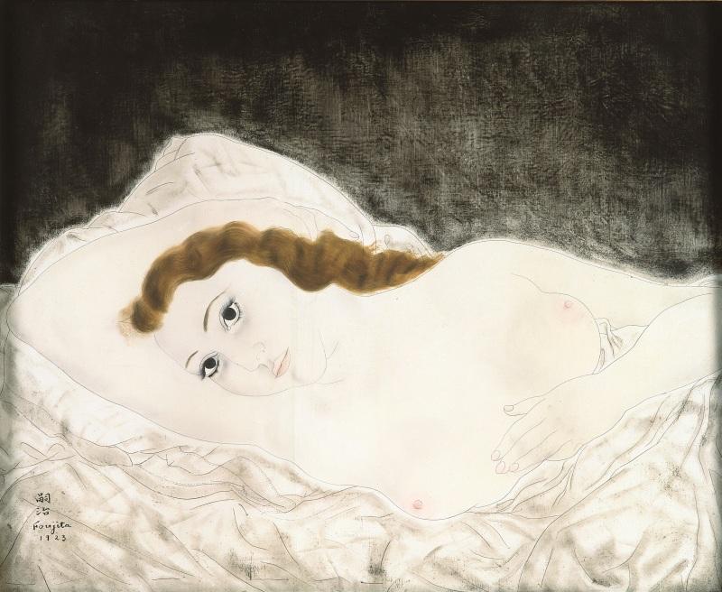 Foujita, Femme allongée, 1923