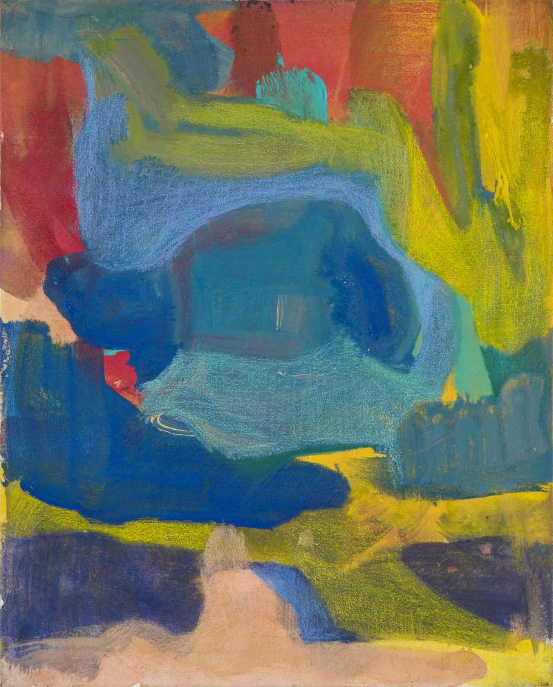 Gilgian Gelzer, Sans titre, 2012. Acrylique et crayons de couleur sur toile, 41 x 33 cm