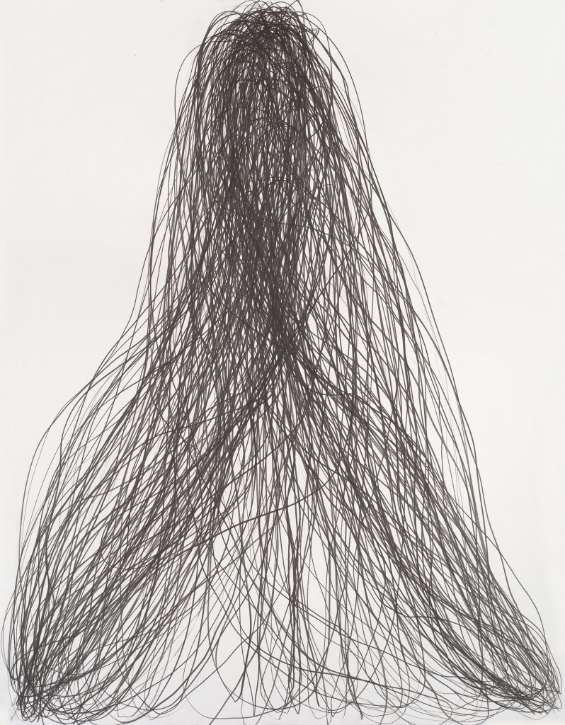 Gilgian Gelzer, Sans titre, 2016. Graphite sur papier, 140 x 110 cm.