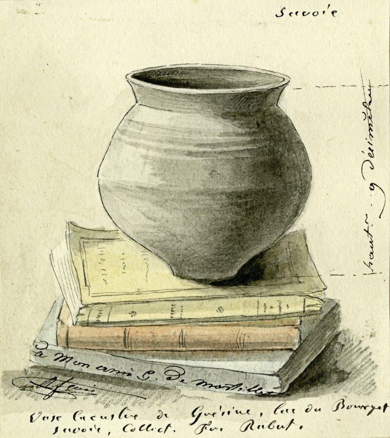 Lepic, Ludovic-Napoléon (1839-1889) Tableau (non localisé): Intérieur d'une habitation lacustre, Huile (support inconnu), Dimensions: inconnues (env. 0,46m x 0,20m), s.d.b.g. Lepic 1872. Mention sur cartel d'époque fixé sur cadre en bois: