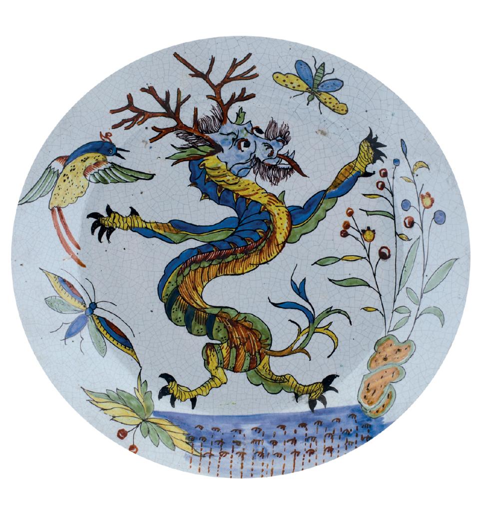 Manufacture de Sinceny (attribué à), Assiette creuse La Guivre, fin 18e siècle