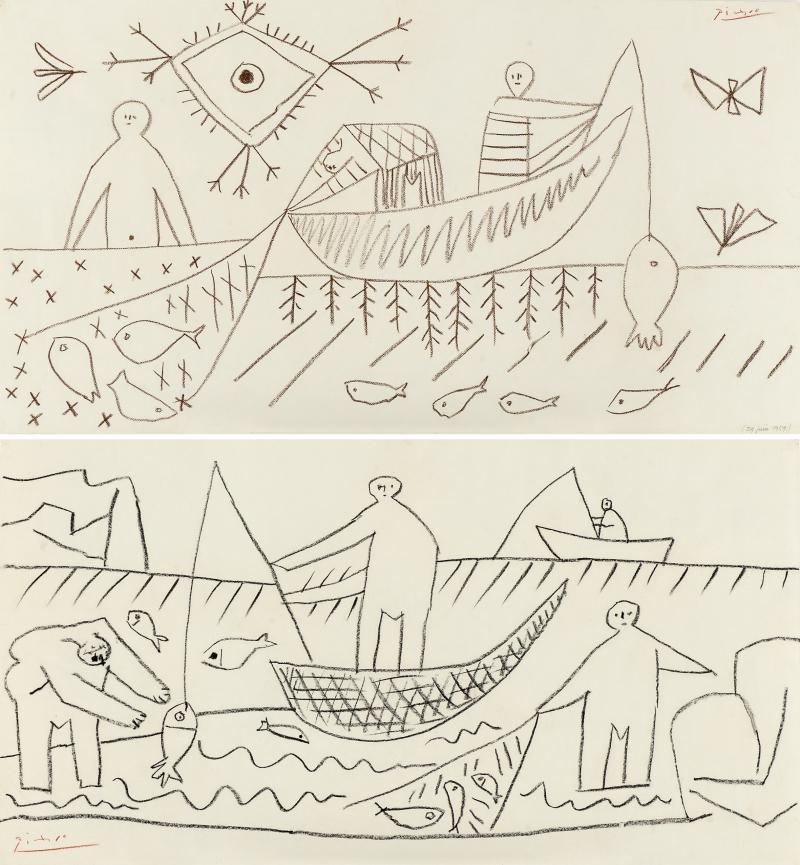 Pablo Picasso - Fishermen (RectoVerso) 1957