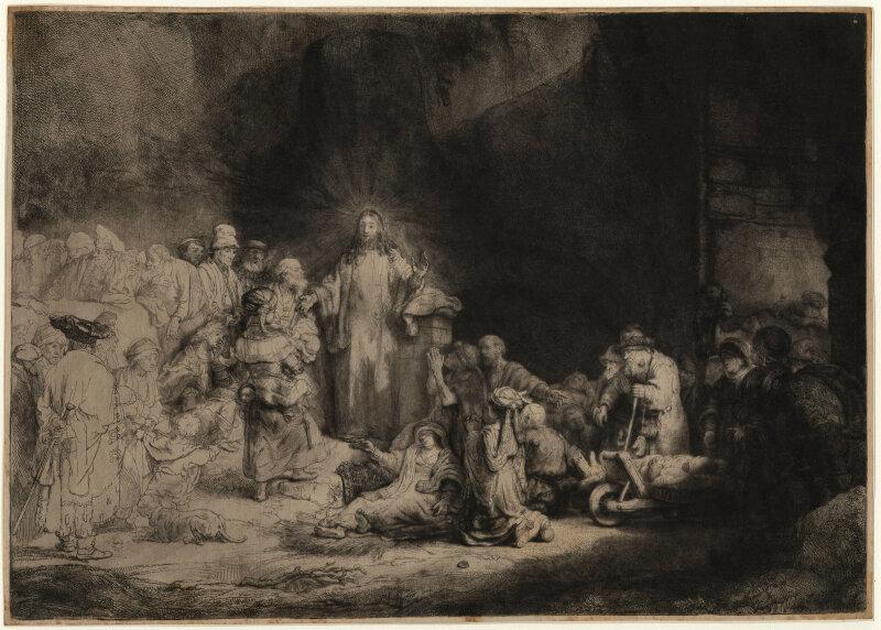 REMBRANDT . Jésus-Christ guérissant les malades, dit aussiLa Pièce de cent florins, eau-forte, vers 1648.