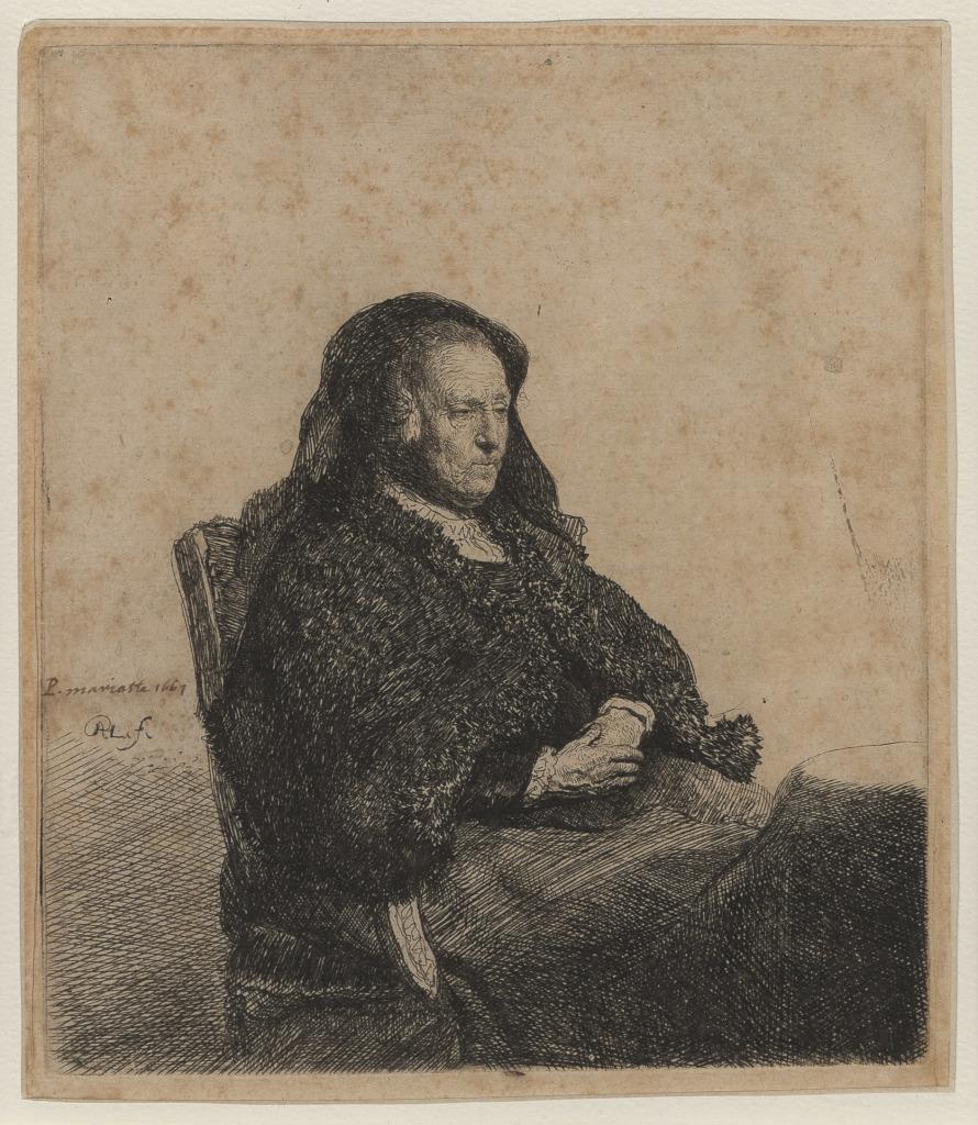 REMBRANDT La mère de Rembrandt au voile noir, eau-forte.