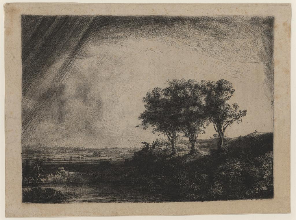 REMBRANDT Paysage aux trois arbres, eau-forte, 1643.