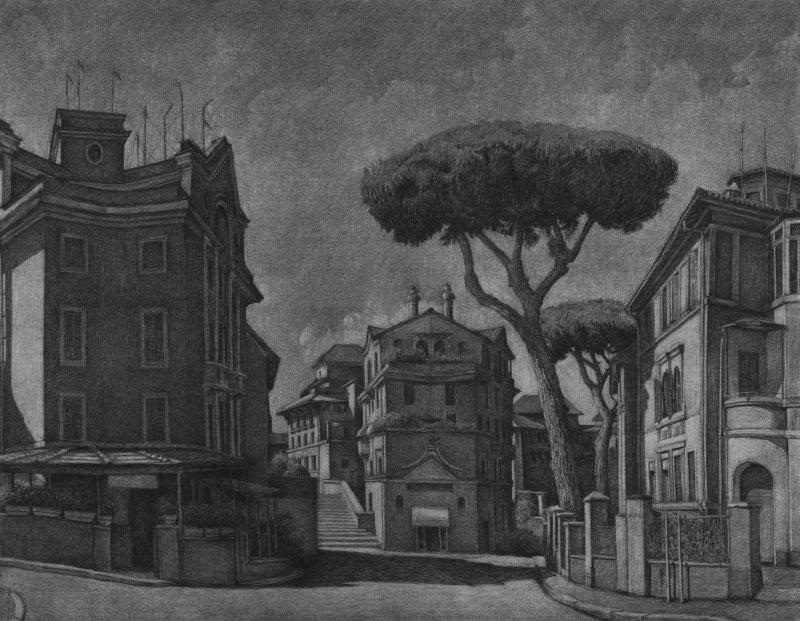 01- Chiara Gaggiotti, La Garbatella, 2017, fusain sur toile, 146 x 114 cm