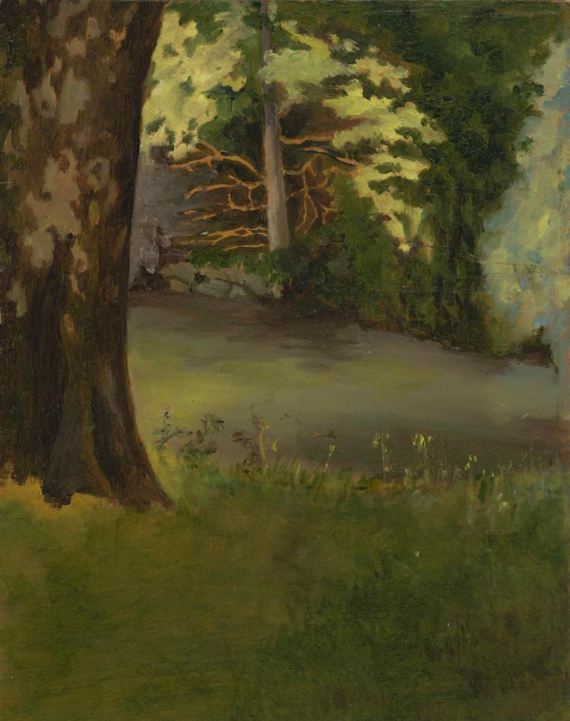 02- Corinne Pauvert, Le Parc du Prieuré, L'Isle-Adam, juin 2017, huile sur carton, 19 x 24 cm