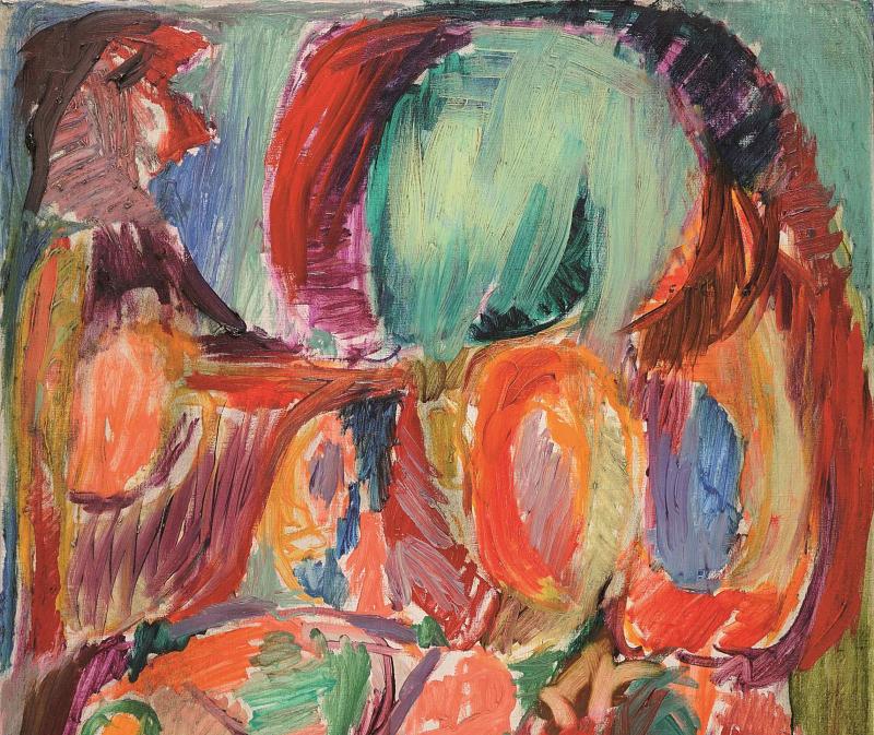 ALECHINSKY Pierre  Les soleils artificiels  1966  Acrylique sur toile  55 x 46   Exposition: